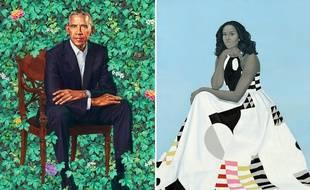 Les portraits officiels de Barack et Michelle Obama, peints par Kehinde Wiley et  Amy Sherald.