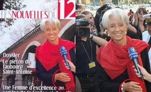 Christine Lagarde dans le 12e arrondissement Bien qu'elle y soit élue municipale d'opposition, la ministre de l'Economie et des Finances Christine Lagarde ne se rend pas très souvent dans le 12e arrondissement de Paris. A tel point qu'il faut réaliser un montage photo avenue Daumesnil pour la une de son «journal», comme le révèle le blog d'Alexis Corbière. Remarquez aussi que l'on en a profité pour faire disparaitre un diamant un peu trop clinquant...