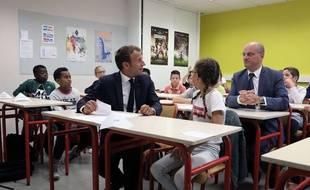 Emmanuel macron à l'école à Laval, le 3 septembre 2018.