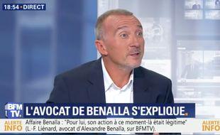L'avocat d'Alexandre Benalla, Me Laurent-Franck Liénard, sur BFMTV le 24 juillet 2018.