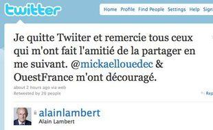 Alain Lambert annonce son départ de Twitter, lundi 16août 2010.