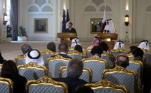 Emmanuel Macrcon et l'émir Sheikh Tamim bin Hamad Al-Thani donnent une conférence de presse