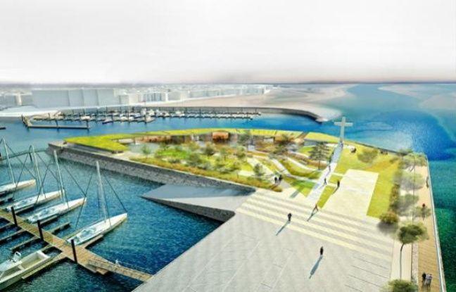Vue de la future capitainerie du port d'Arcachon prévue pour la saison estivale 2013.