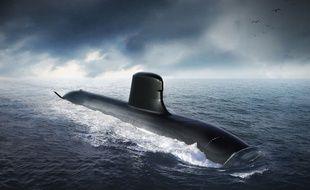 Vue d'artiste d'un sous-marin nucléaire Barracuda de classe Suffren (illustration).