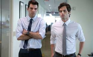 Zachary Quinto et Penn Badgley dans «Margin Call».