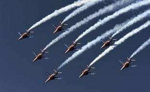 Les jets de la Patrouille de France en démonstration dans le ciel du Bourget, le 19 juin 2015