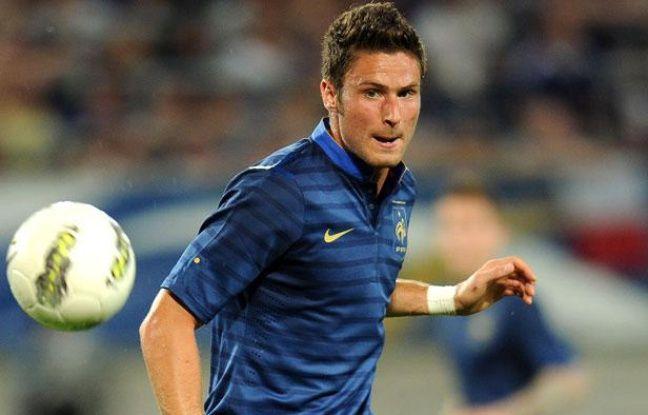 L'attaquant de l'équipe de France Olivier Giroud face à l'Islande, le dimanche 27 mai 2012