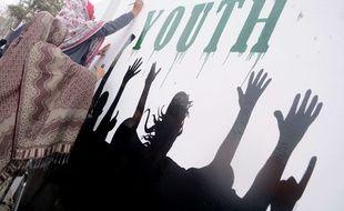 Réalisation d'une fresque en faveur de la protection des enfants, au Pakistan le 14 janvier 2021.
