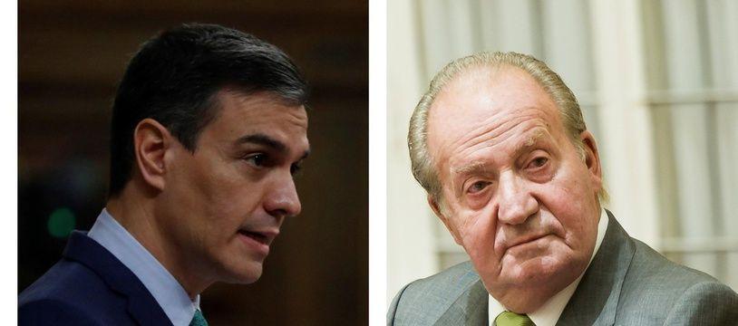 Pedro Sanchez, chef du gouvernement espagnol, et Juan Carlos, ancien roi d'Espagne.