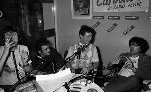 L'équipe de Radio Carbone 14, en septembre 1983, après la légalisation des radios libres.
