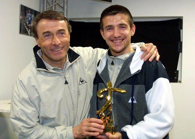 Raynald Denoueix et Eric Carrière, meilleur entraîneur et meilleur joueur de la saison 2000-2001.