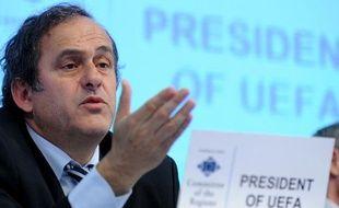 Le président de l'UEFA, Michel Platini, lors d'une conférence à Bruxelles, le 14 avril 2010.