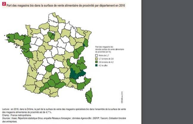 La proportion de magasins bio dans les magasins alimentaires de proximité. En vert, les zones où la proportion est la plus élevée.