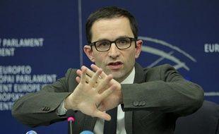 Benoît Hamon àStrasbourg, le 12 mars 2013. Le ministre délégué à l'Economie sociale et solidaire y donnait une conférence de presse sur les résultats des recherches sur la viande de cheval dans les plats cuisinés.