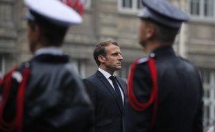 Paris, le 8 octobre 2019, le président de la République Emmanuel Macron durant l'hommage national rendu aux policiers tués dans une attaque à la préfecture de police.