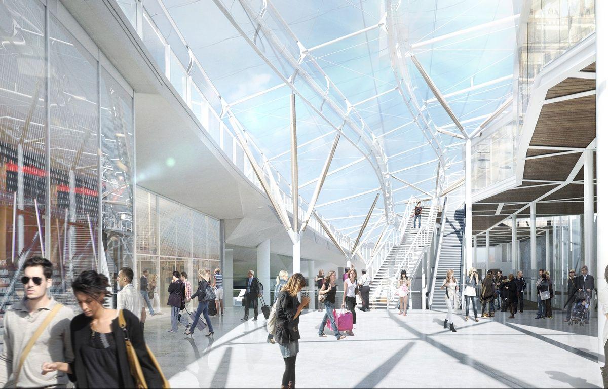 Vue de l'intérieur de la future gare de Rennes – Artefacto - Arep