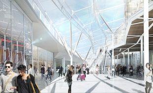 Vue de l'intérieur de la future gare de Rennes