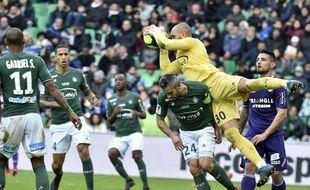 Le gardien de Saint-Etienne Jessy Moulin, meilleur homme du match contre Toulouse, le 14 janvier 2017 à Geoffroy-Guichard.
