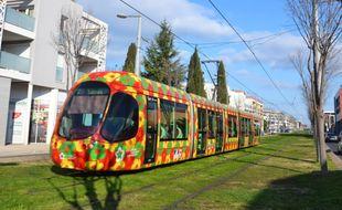 Un tramway sur la ligne 2, dans la métropole de Montpellier