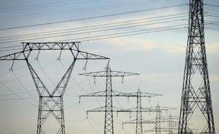 Des poteaux électriques près de la centrale nucléaire de Fessenheim