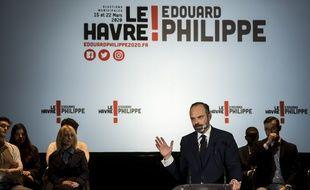 Edouard Philippe lors de son premier meeting de campagne municipale au Havre, vendredi.