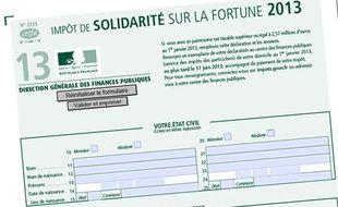 Le formulaire de déclaration de l'impôt de solidarité sur la fortune téléchargeable sur le site impots.gouv.fr.