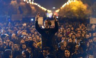 Manifestation contre les autorités en Roumanie, le 4 novembre 2015.