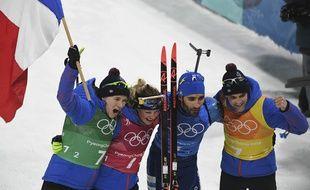 Le relais mixte français, avec Bescond, Dorin, Desthieux et Fourcade, a été sacré champion olympique le 20 février 2018 à Pyeongchang.