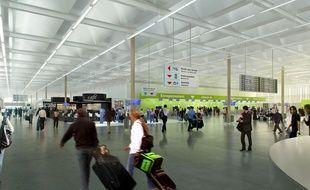 Image de synthèse du futur hall à bagages de l'aéroport de Notre-Dame-des-Landes