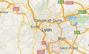 Carte de localisation de Vénissieux, dans le Rhône.
