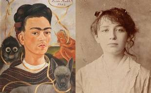 Autoportrait de Frida Kahlo et photo non datée de Camille Claudel