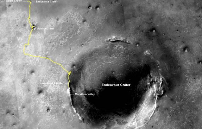 Image du chemin parcouru par le robot Opportunity à la surface de Mars
