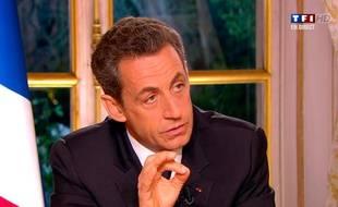 Nicolas Sarkozy lors de son allocution sur TF1 Et France 2 le 27 octobre