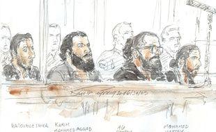 Quatre des sept prévenus du procès de la filière de Strasbourg, le 30 mai 2016, à Paris.