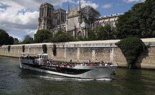 La cathédrale Notre-Dame de Paris, après l'incendie, ici le 15 juin 2019.