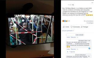 Photo du bus 152 pendant le confinement, publiée sur la page Facebook de la CGT RATP Bus Flandre.