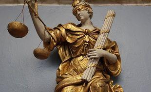 Lille, le 21 janvier 2015. L'allegorie de la justice a ete restauree ei installe dans une salle speciale du musee de l'hospice Comtesse. La restauration a ete possible grace au mecenat du barreau de Lille.