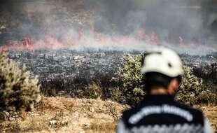 Incendie de forêt dans la campagne de Lattaquié, en Syrie, le 10 septembre 2020.