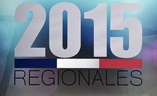 Photo prise le 2 décembre 2015 montrant le logo des élections régionales