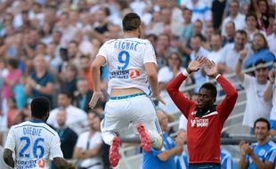 André-Pierre Gignac célèbre son 1er but face à Rennes, samedi 20 septembre 2014 au Vélodrome.