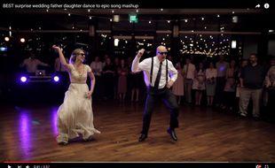 Un père et sa fille fraîchement mariée ont offert une danse endiablée à leurs invités