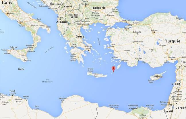Localisation de l'île grecque de Karpathos.