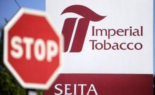 """Le sigle de l'entreprise """"Seita-Imperial tobacco"""" à Carquefou en France, le 15 avril 2014"""