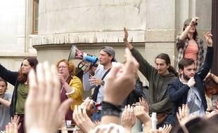 Le 12 avril 2018, à Lyon. Des étudiants de Lyon-2 mobilisés contre la réforme des règles d'accès à la fac, se sont réunis ce jeudi midi en AG sur le campus des quais.