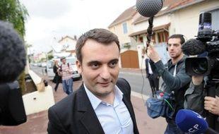 Florian Philippot, vice-président du Front national, au siège de son parti à Nanterre le 26 mai 2014