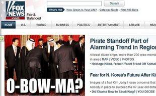 Le site de Fox News sur la révérence supposée d'Obama au roi Abdallah d'Arabie Saoudite, lors du G20 à Londres le 2 avril 2009