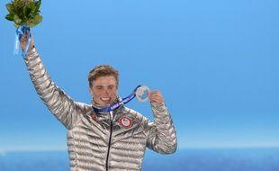 Gus Kenworthy a remporté la médaille d'argent dans l'épreuve de slopestyle des JO de Sotchi, le 13 février 2014.