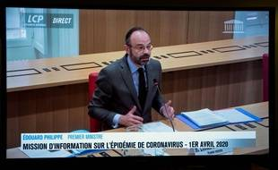 Le Premier ministre, Edouard Philippe, interrogé en visioconférence par des députés sur la crise du coronavirus en France, le 1er avril 2020 sur LCP.