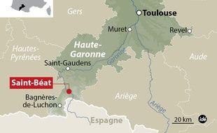 Carte de localisation du village de Saint-Béat, en Haute-Garonne.