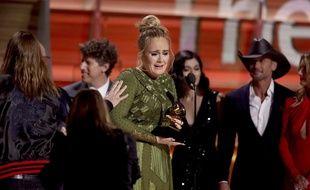 La chanteuse Adele lors de la 59e cérémonie des Grammy Awards, le 12 février 2017.